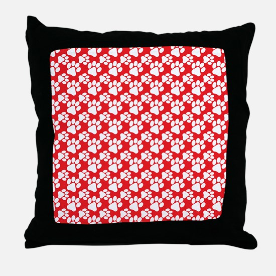Dog Paws Red Throw Pillow