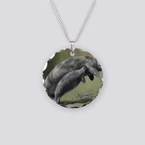 Manatee Sea Cow Necklace Circle Charm
