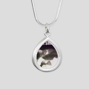 Funny 50th Birthday (Cat Silver Teardrop Necklace