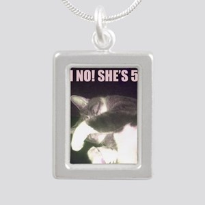 Funny 50th Birthday (Cat Silver Portrait Necklace