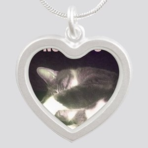 Funny 50th Birthday (Cat) Silver Heart Necklace