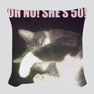 Funny 50th Birthday (Cat) Woven Throw Pillow