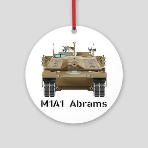 M1A1 Abrams MBT Front View Round Ornament