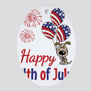 Happy 4th Doggy with Balloons Oval Ornament