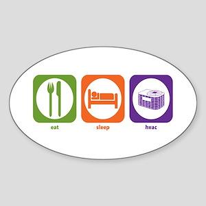 Eat Sleep HVAC Oval Sticker