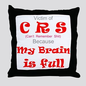 My Brain is Full-red Throw Pillow