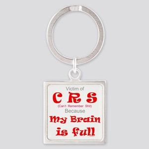 My Brain is Full-red Square Keychain