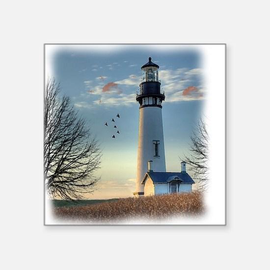 "Sunset_Lighthouse Square Sticker 3"" x 3"""