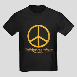 JFK w Orange Peace Sign Kids Dark T-Shirt