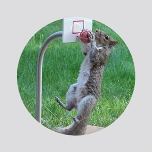 Squirrel Slam Dunking Basketball Round Ornament