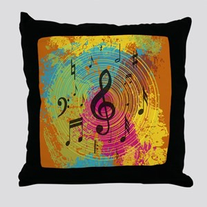 Bright Music notes on explosion of co Throw Pillow