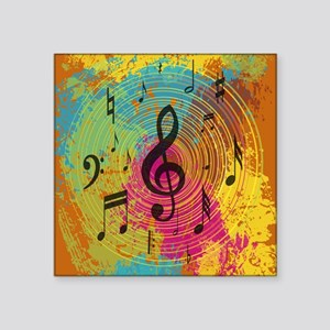 "Bright Music notes on explo Square Sticker 3"" x 3"""