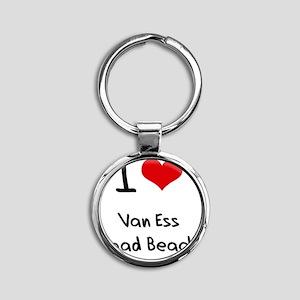 I Love VAN ESS ROAD BEACH Round Keychain