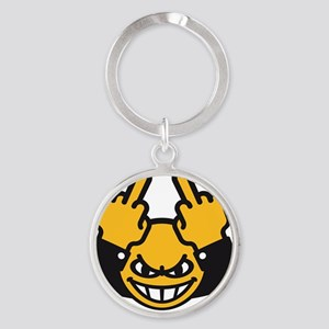 Evil Smiley (3C) Round Keychain