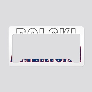 Polski American Flag License Plate Holder