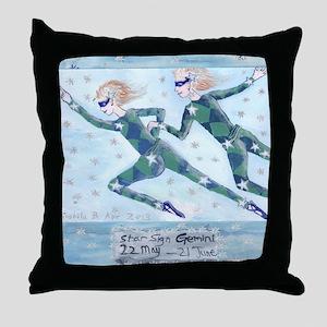 Star Sign Gemini square Throw Pillow