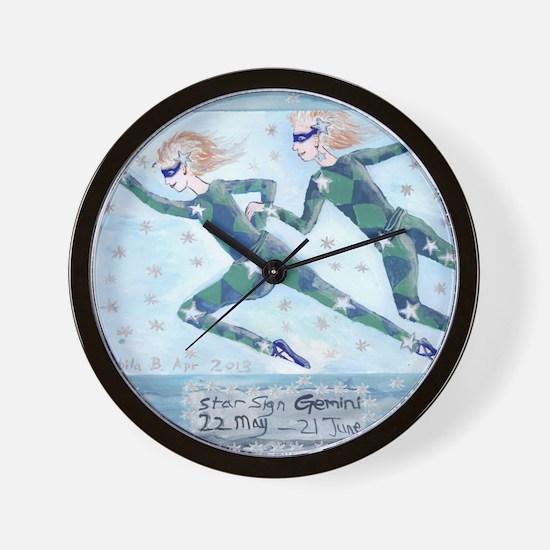 Star Sign Gemini square Wall Clock