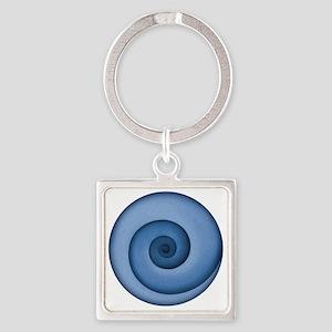 spiral-blue-T Square Keychain