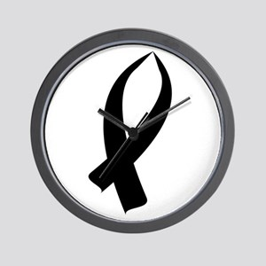Awareness Ribbon Black Wall Clock
