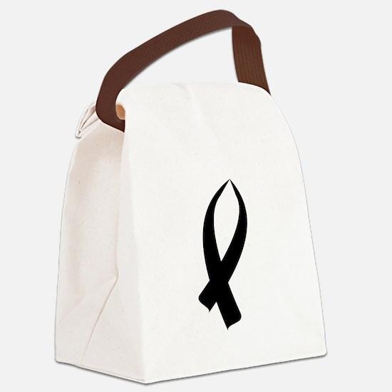 Awareness Ribbon Black Canvas Lunch Bag