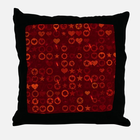 Red Stars and Hearts Woven Blanket Throw Pillow