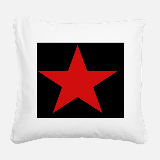 Red Star Woven Blanket Square Canvas Pillow
