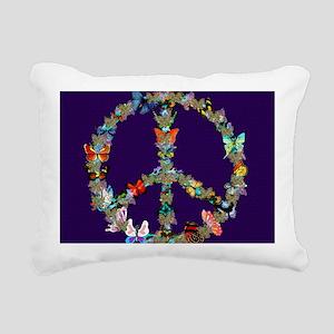 Butterfly Peace Sign Bla Rectangular Canvas Pillow