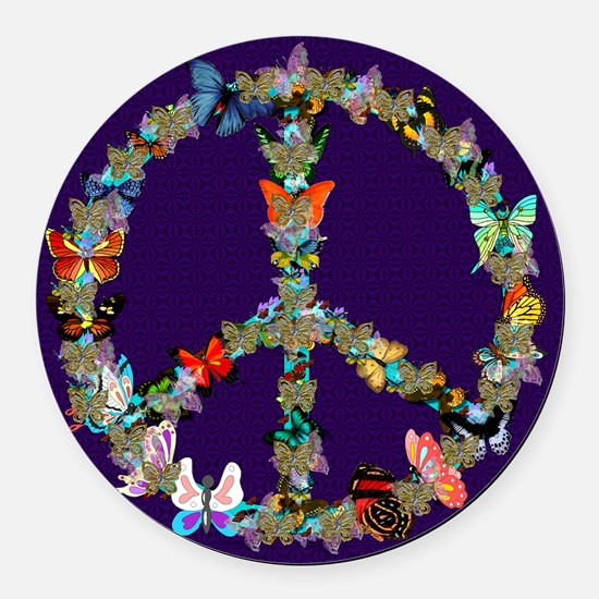 Butterfly Peace Sign Blanket 1 Round Car Magnet