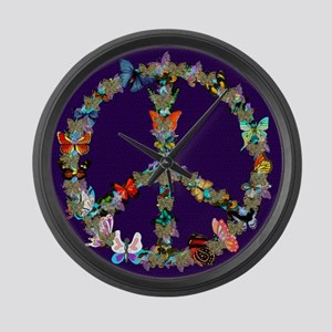 Butterfly Peace Sign Blanket 1 Large Wall Clock