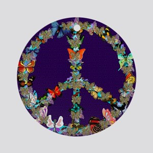 Butterfly Peace Sign Blanket 1 Round Ornament