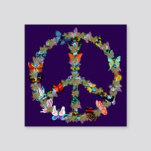 "Butterfly Peace Sign Blanke Square Sticker 3"" x 3"""