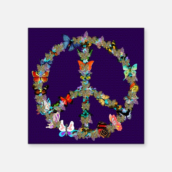 """Butterfly Peace Sign Blanke Square Sticker 3"""" x 3"""""""