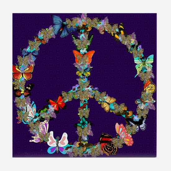 Butterfly Peace Sign Blanket 1 Tile Coaster