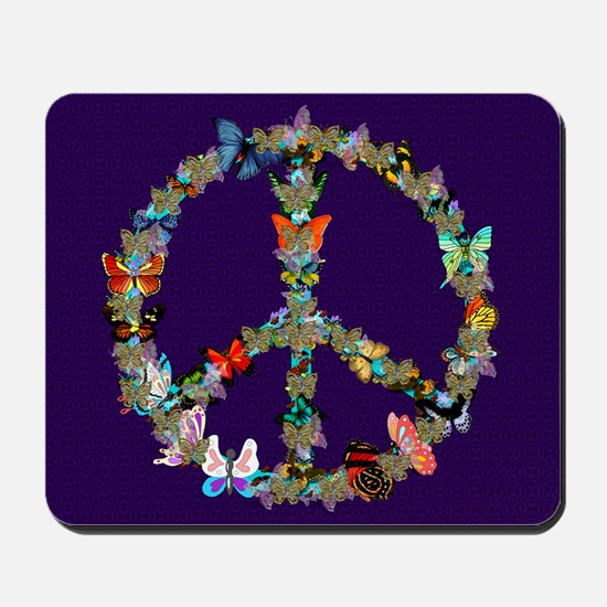 Butterfly Peace Sign Blanket 1 Mousepad