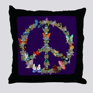 Butterfly Peace Sign Blanket 1 Throw Pillow