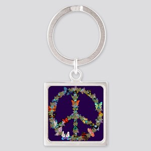 Butterfly Peace Sign Blanket 1 Square Keychain
