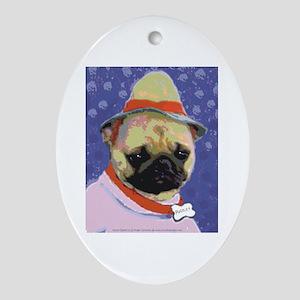Pugsley Sad Pug Oval Ornament