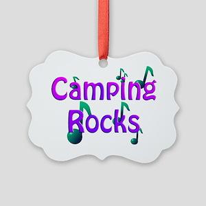 Camping Rocks Purple Picture Ornament
