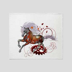Steampunk, wonderful wild steampunk horse Throw Bl