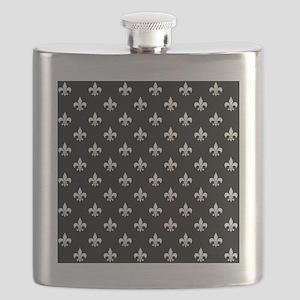 fleur de lis square white black Flask