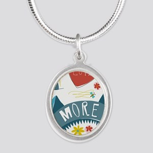 I love you more Silver Oval Necklace