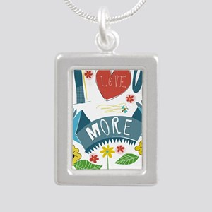 I love you more Silver Portrait Necklace