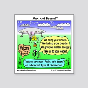 "Ants Meet Aliens Square Sticker 3"" x 3"""