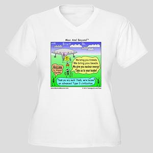 Ants Meet Aliens Women's Plus Size V-Neck T-Shirt