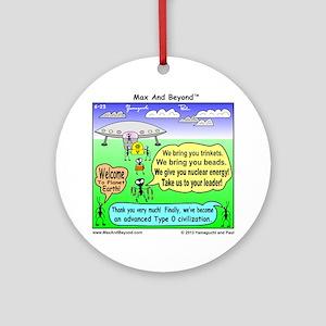 Ants Meet Aliens Round Ornament