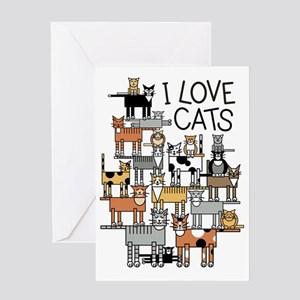 I Love Cats for Light Colors Greeting Card