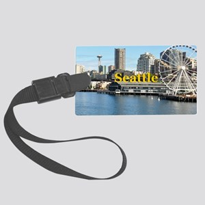 Seattle_5x3rect_sticker_SeatterW Large Luggage Tag