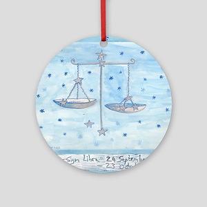 Star Sign Libra square Round Ornament