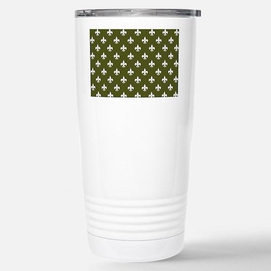 Fleur de Lis PC White D Stainless Steel Travel Mug