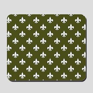 Fleur de Lis PC White Dk Olive Mousepad